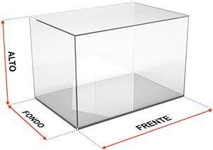 Cubo expositor dimensiones